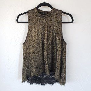 love, Fire Gold Lace High-neck Tank